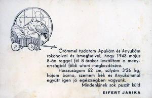 eifert-janika-Értesítö, megszületésemröl, 1943. május 8.