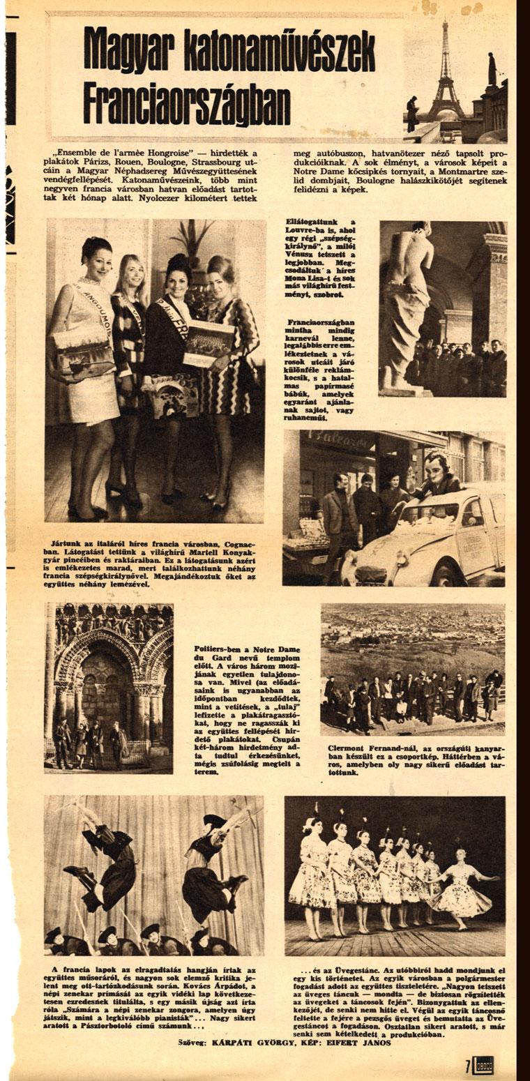 Magyar katonaművészek Franciaországban (Lobogó, 1968. május 29.)