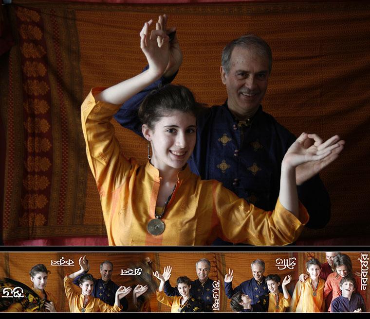 Papa és gyerekei indiai ruhában (2008.04.19.)