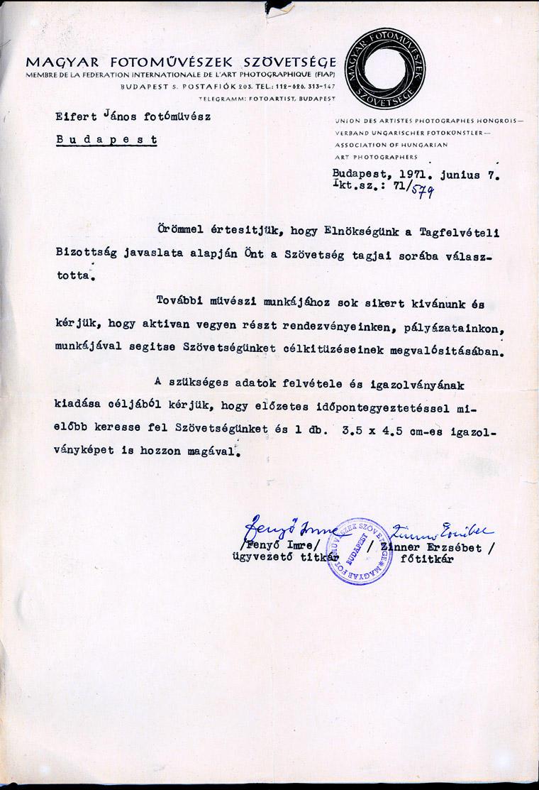 1971.06.07. Magyar Fotóművészek Szövetsége levél, tagfelvetel