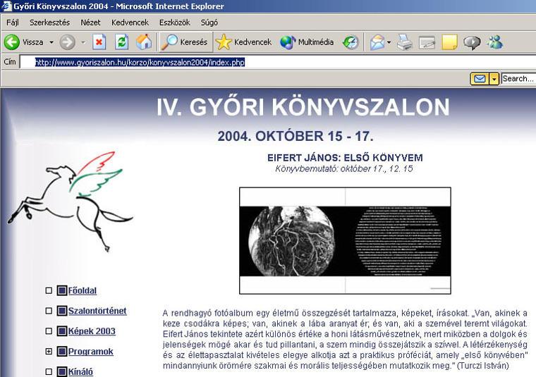IV. Győri Könyvszalon, Eifert János: Első könyvem, 2004.10.15