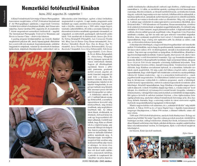 Eifert János cikke, Foto-Mozaik, 2002. október