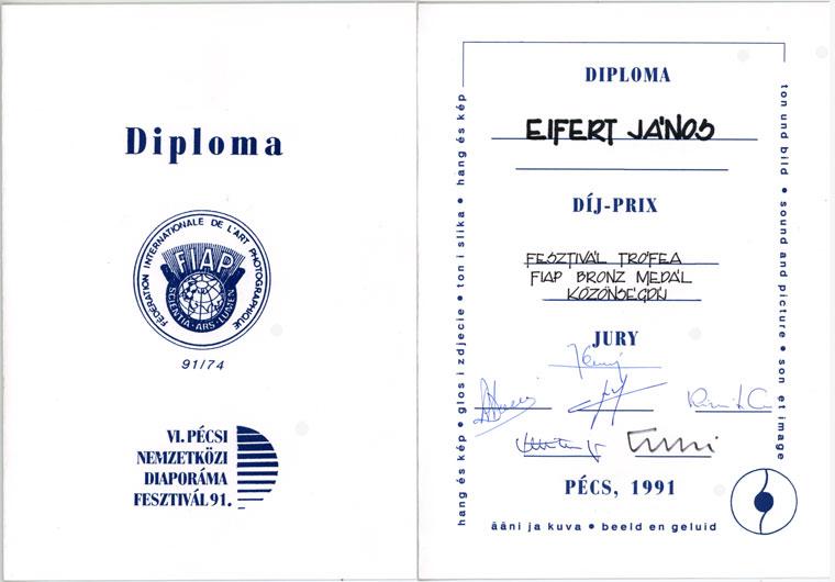 VI. Pécsi Nemzetközi Diaporámafesztivál, 1991.október 3-5.