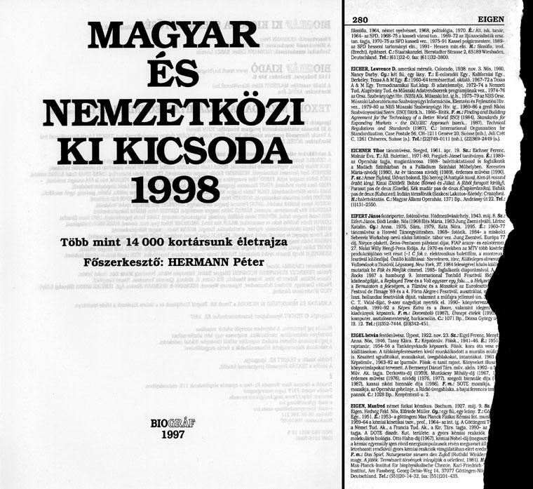 Magyar és nemzetközi Ki Kicsoda 1998 (BIOGRÁF Kiadó 1997)