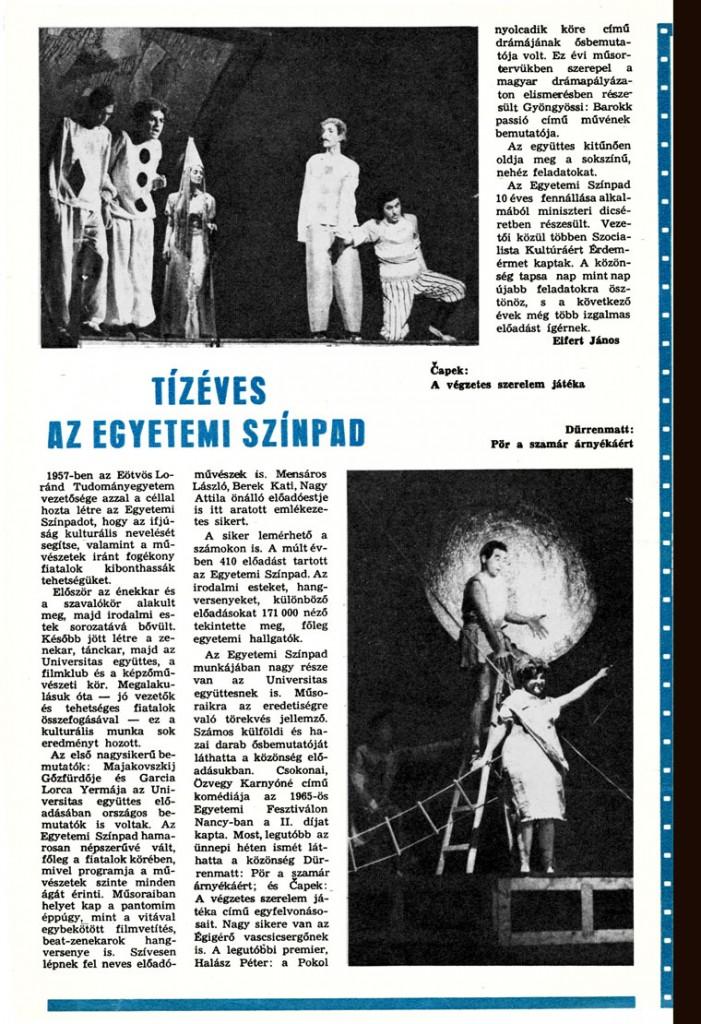 Eifert János: Tíz éves az Egyetemi Színpad (A hazáért, 1968.01.17.)