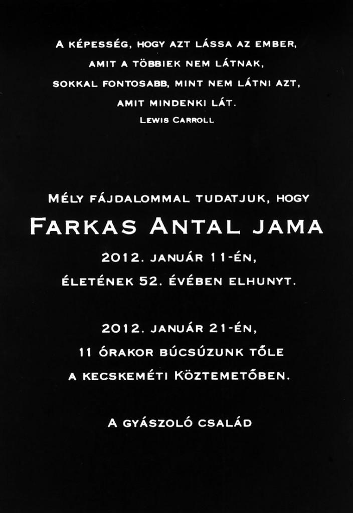 Farkas Antal Jama - gyászjelentés