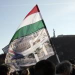 2012. március 15., Millás-tüntetés az Erzsébet-hídnál