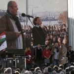 2012.03.15-Millás-tüntetés, Pikó András felszólalása (Photo: Eifert János)