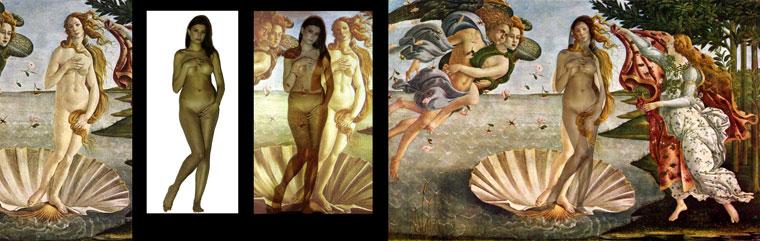 Botticelli: Vénusz születése c. kép rávetítése a testre