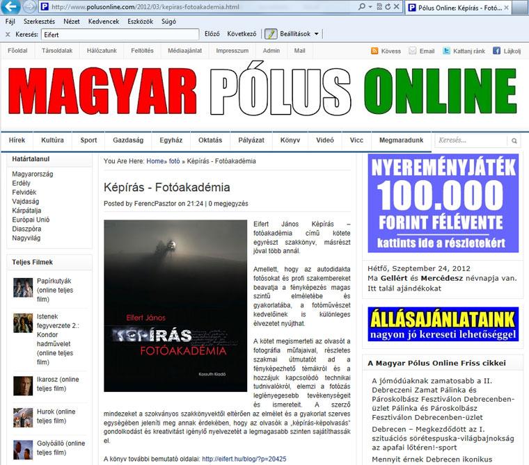 Magyar-Pólus-Online, 2012.09.24.