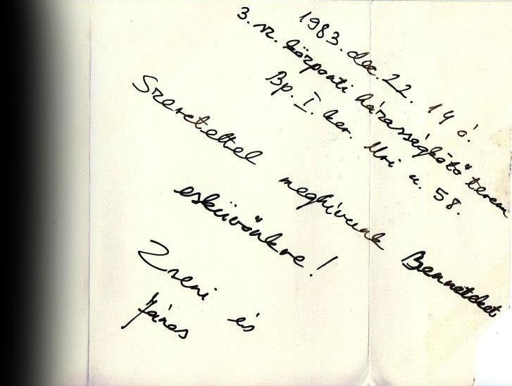 Jung Zseni és Eifert János, Esküvői meghívó, 1983.12.22.