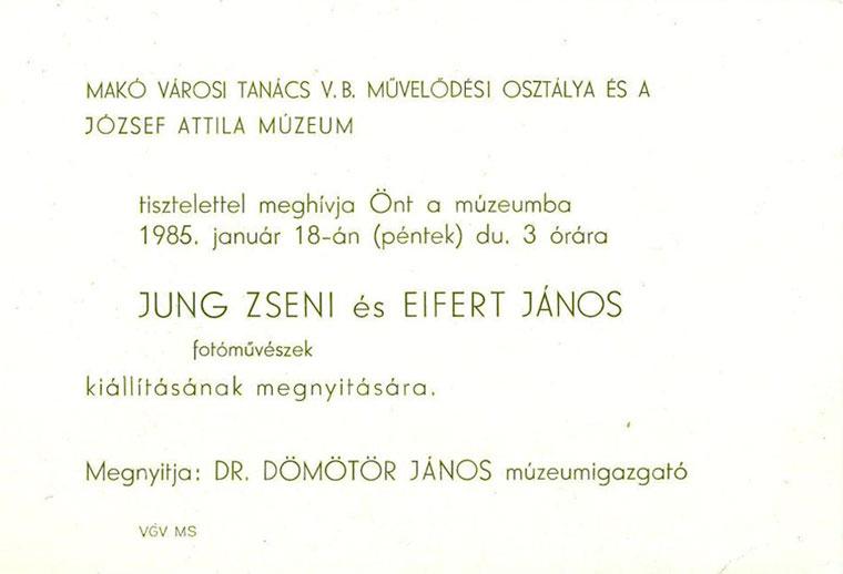 """""""Fák és Nimfák"""", Jung Zseni és Eifert-János kiállításának meghívója"""