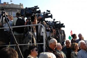 TV-sek a MILLÁS-tüntetésen (Photo: Eifert János)