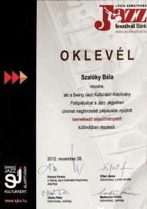 Oklevél Szalóky Béla részére