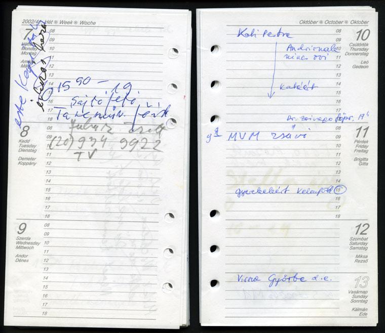 2002.10.07-13. Naptáram (Photo: Eifert János)