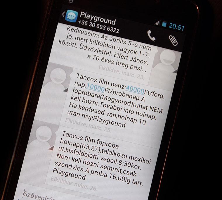 Mobil-üzenet-SMS a Playgound-tól
