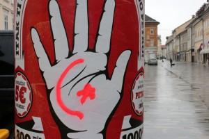 Kranj, Plakát a Főtéren (Photo: Eifert János)