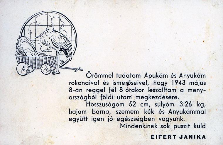 Értesítõ, megszületésemrõl, 1943. május 8.