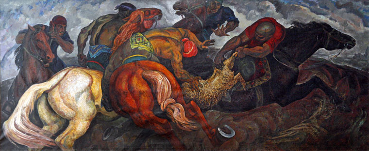 Melnikov Ye. P. (1928-): Ulak - national game of uzbeks (1960)  - Art Museum of Uzbegistan