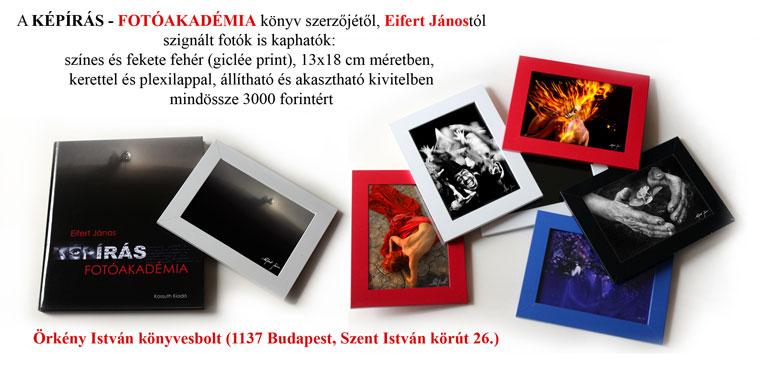 Képírás-Fotóakadémia c. könyvem mellé szignált fotók az Örkény könyvesboltban