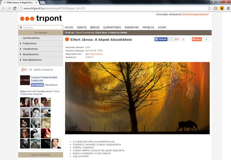 Eifert János: A képek közzététele - Tripont Fotóakadémia, 2014.02.28.