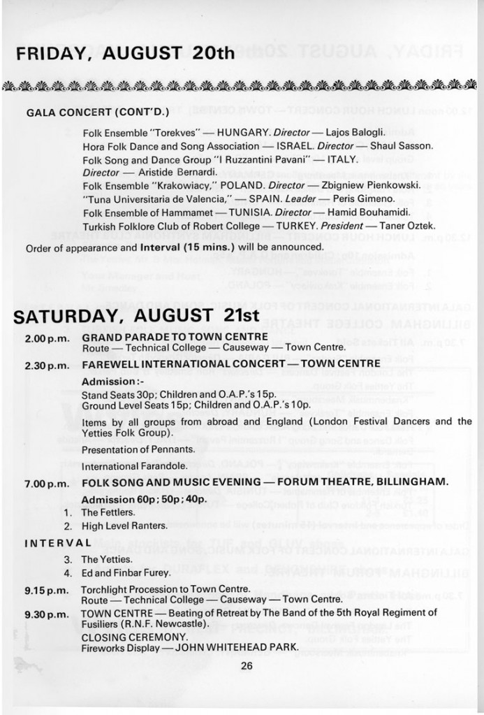 1971.08.14. Billingham International Folklore Festival, programfüzet