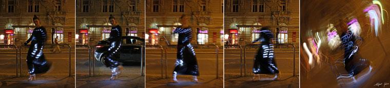 Eifert Kata Nóra, saját tervezésű és kivitelezésű fényruhájában, 2014.03.31. (Eifert János felvételei)