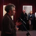 Gaál József képzőművész, egyetemi docens megnyitja a kiállítást (Eifert János felvétele)