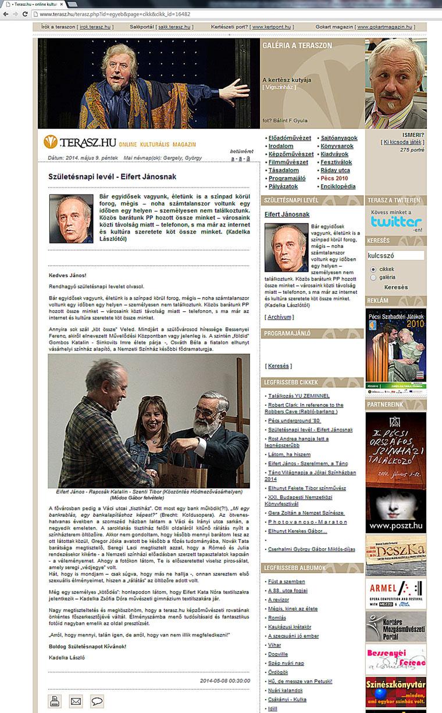 Születésnapi levél - Eifert Jánosnak (Terasz.hu, 2014.05.09.)