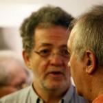 Arató András, a Klubrádió elnök-vezérigazgatója és Eifert János  Balla Demeter kiállításának megnyitóján, Cultiris Galéria (Kincses Gyula felvétele)