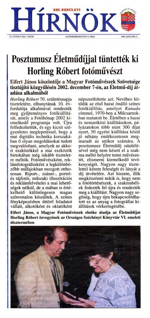 2003.01.15.-Hírnök: Horling-Róbert-életműdíjas