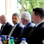 Markó Csaba kabinetfőnök, Lázár János miniszter, Almási István polgármester, Göbl Miklós sajtóreferens (Eifert János felvétele)