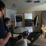 Eifert-workshop, éppen kép rávetítése a modellre - PHOTOEXPO, 2014.10.11. (Photo: Eifert János)