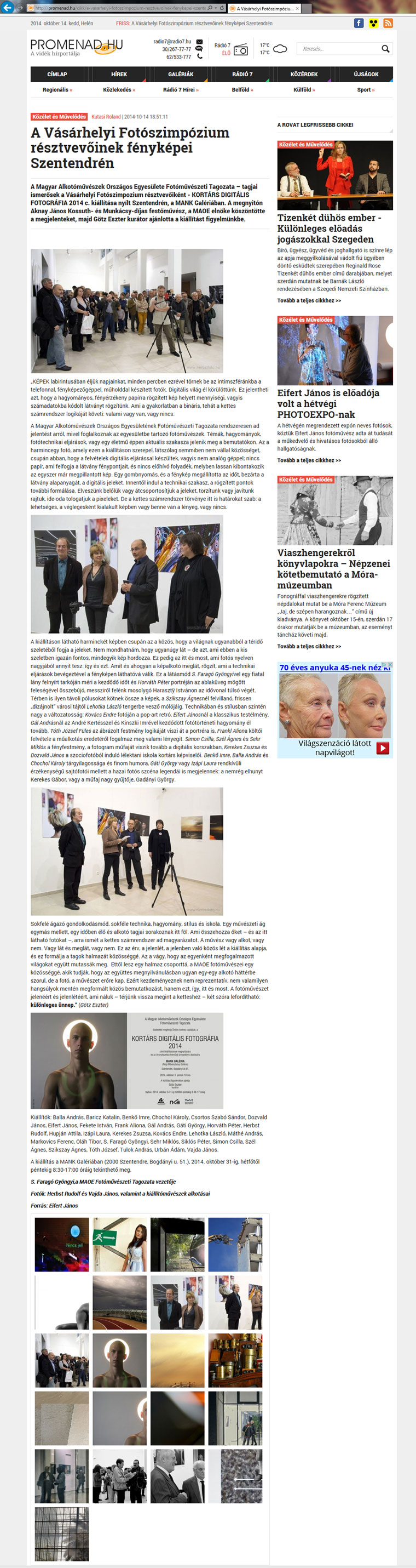 Promenad.hu, 2014.10.14. - MAOE-Fotóművészeti Tagozata kiállítása Szentendrén