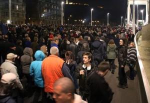 Andris a tüntetők közt, az Erzsébet-hídon, 2014.10.28. (Photo: Eifert János)