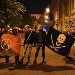 Tüntetők a József Attila utcánál, 2014.10.28. (Photo: Eifert János)