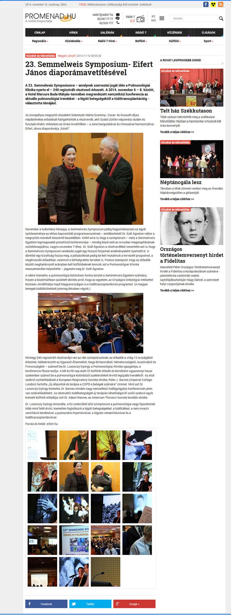 2014.11.10.-Promenad.hu_23. Semmlweis Symposium, Eifert János diaporámavetítésével