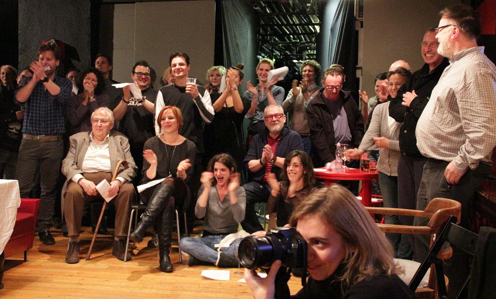 Újlaki Dénest 70. születésnapján színésztársai, barátai köszöntik. Kamra, 2015.01.20. (Eifert János felvétele)