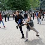 A Táncművészeti Főiskola balettnövendékei a Vörösmarty téren (Eifert János felvétele)