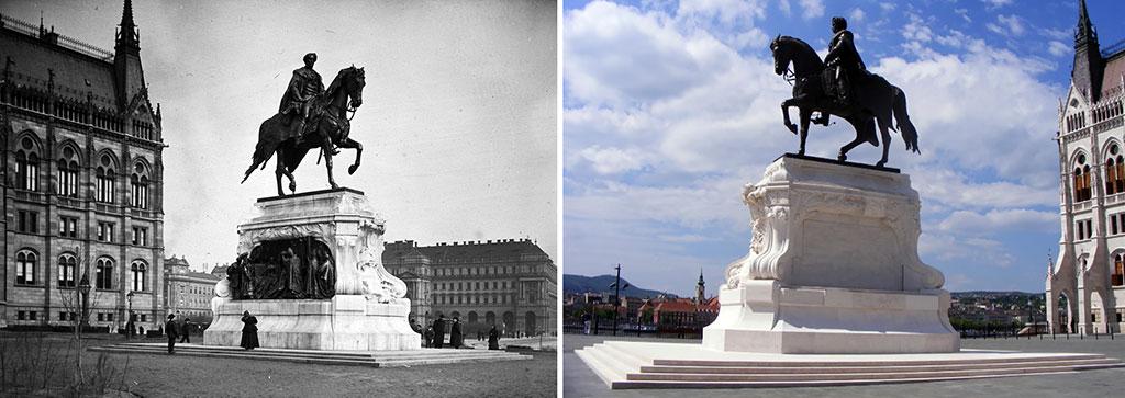 A-régi-és-az-új-Andrássy-Gyula-lovas-szobor (archív fotó és GEO-MÉDIA Bt. felv)