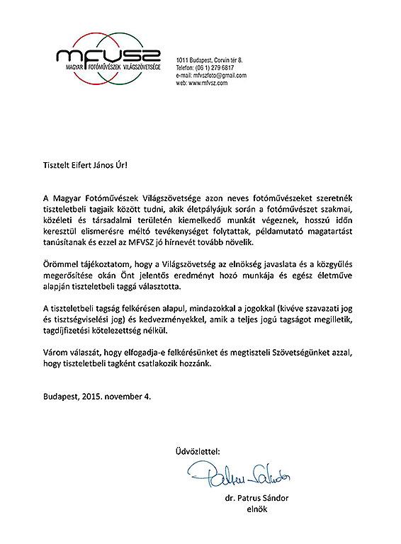 2015.11.04. Magyar Fotóművészek Világszövetsége felkérése tiszteletbeli tagságra