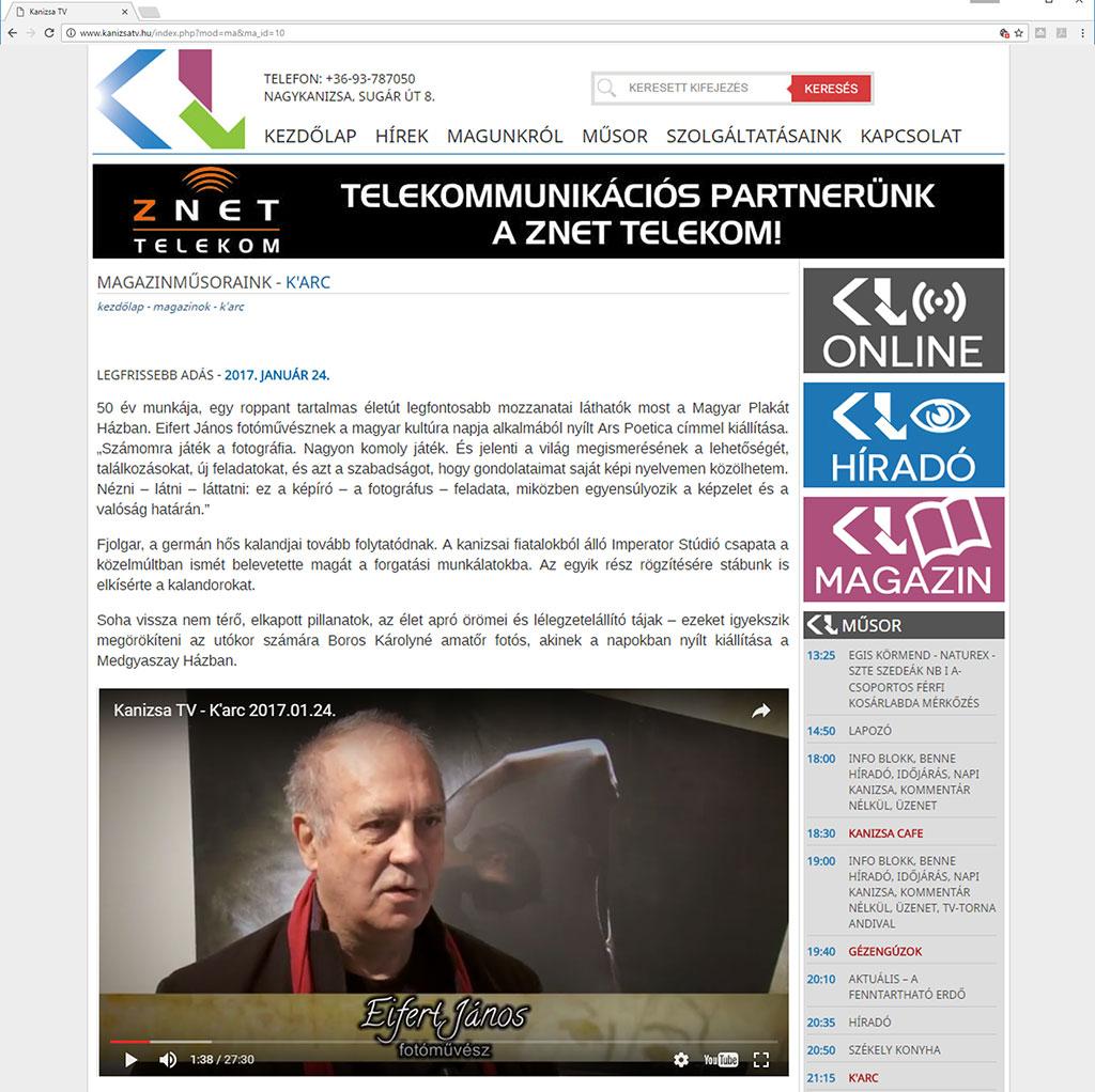 2017.01.24.-Kanizsa-TV-K'arc-magazinműsor_Eifert-ARS-POETICA-kiállításáról
