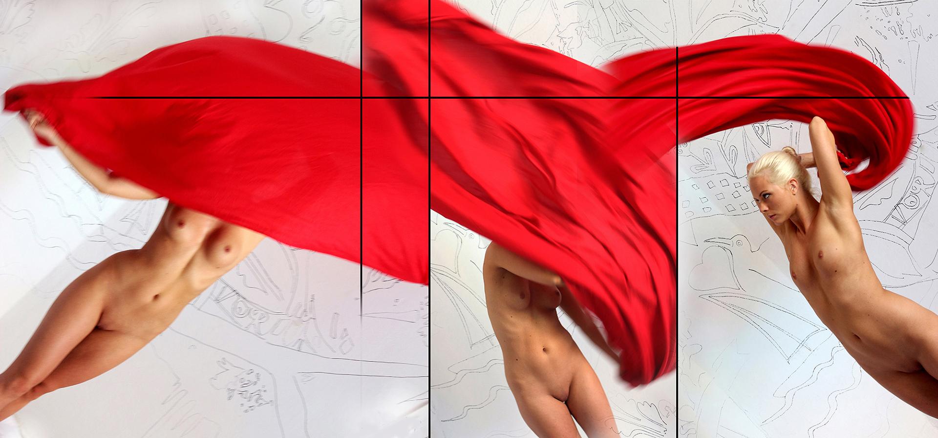 Eifert János: Nude with red Drapery (Esztergom, 2014)