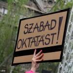 2017.04.15.-Kossuth-téri-tüntetés egyik tábláján: Szabad oktatást! (Eifert János felvétele)