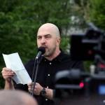 2017.04.15.-A Kosuth-téri tüntetés egyik szónoka (Eifert János felvétele)